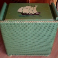 Wicker Hamper w/Painted Sailboat