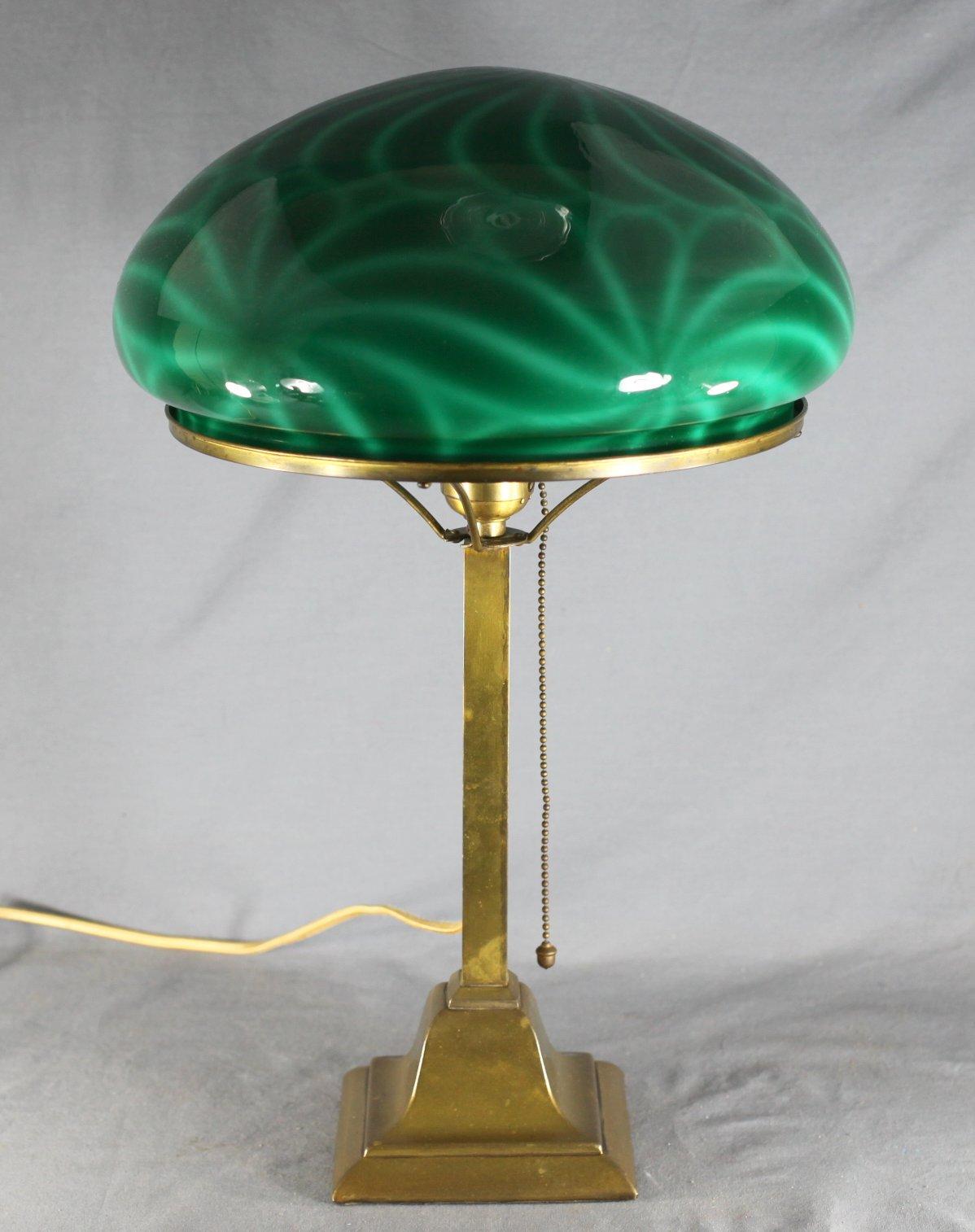 Brass Lamp w/Cased Glass Shade