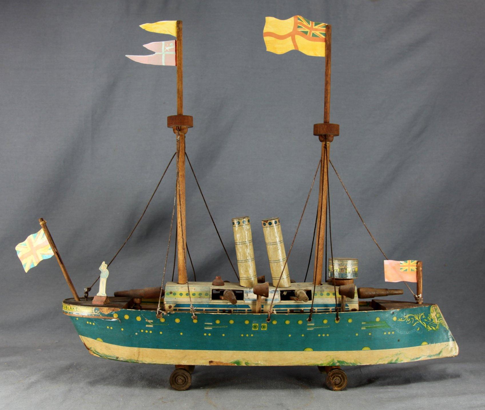 Child's Pull Toy Battleship