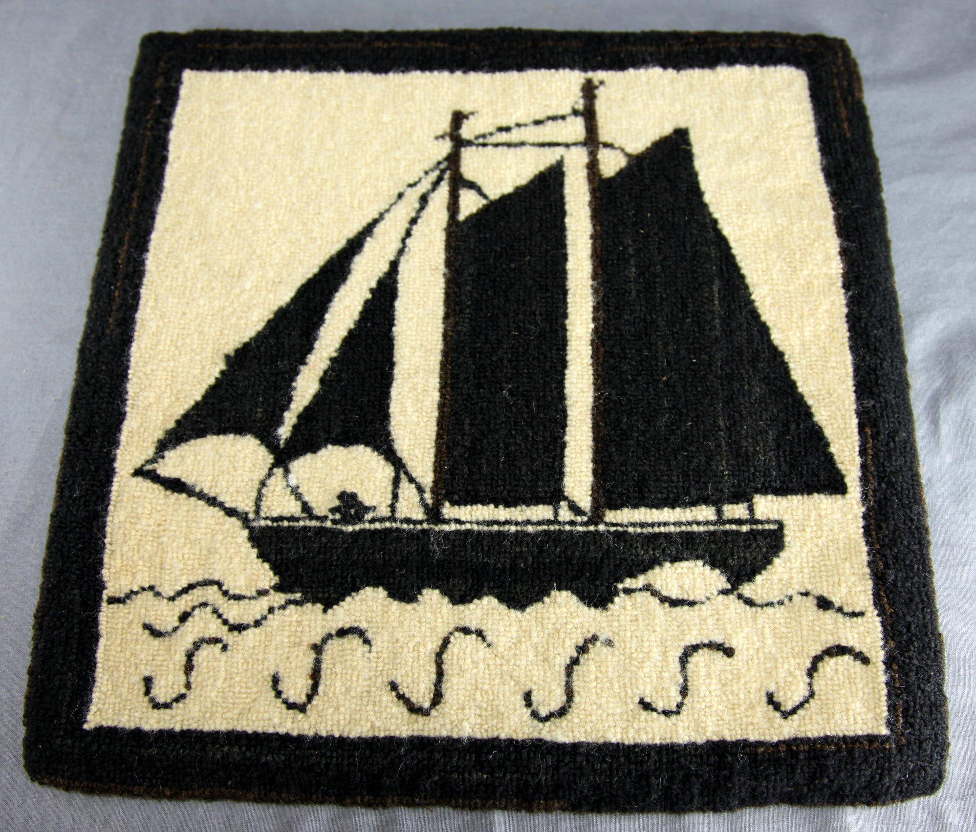 Hand-Hooked Sailing Ship Mat