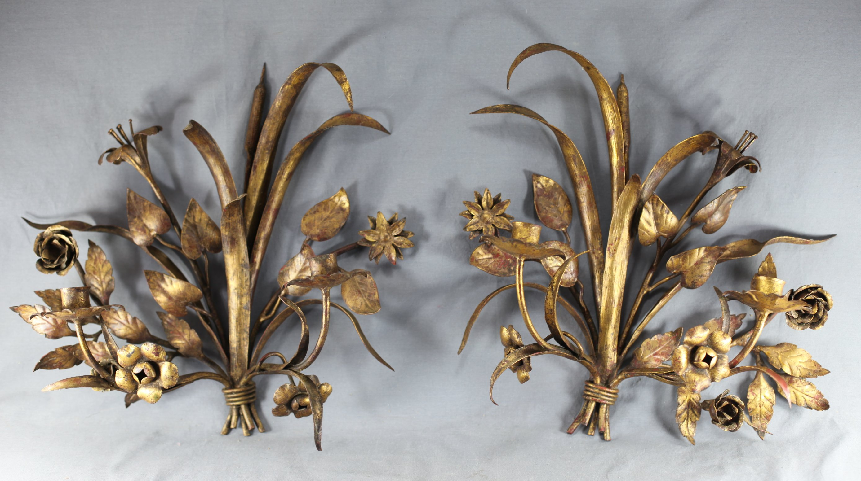 Italian Gilt Metal Candle Sconces
