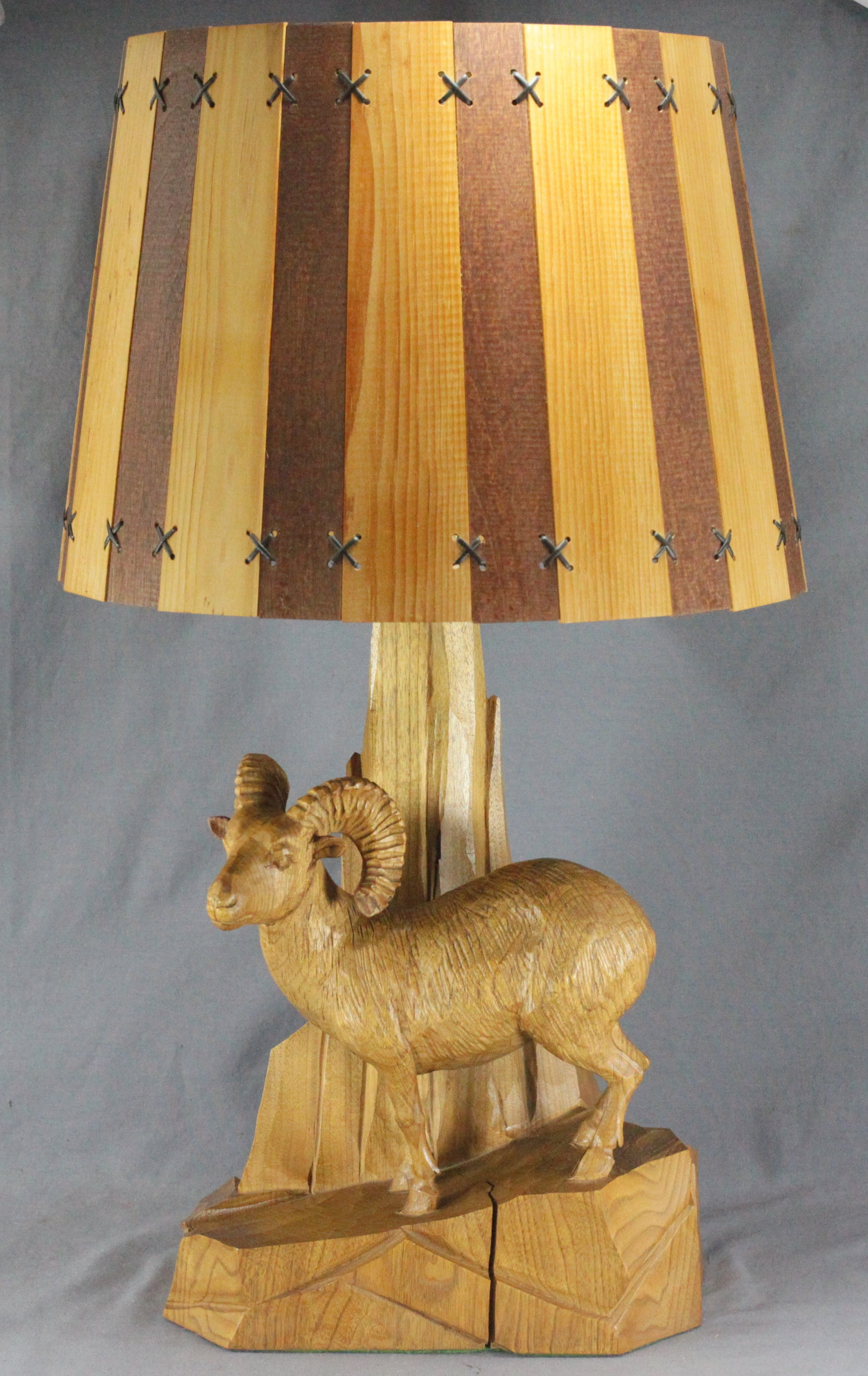 Clement Dube Carved Ram Lamp