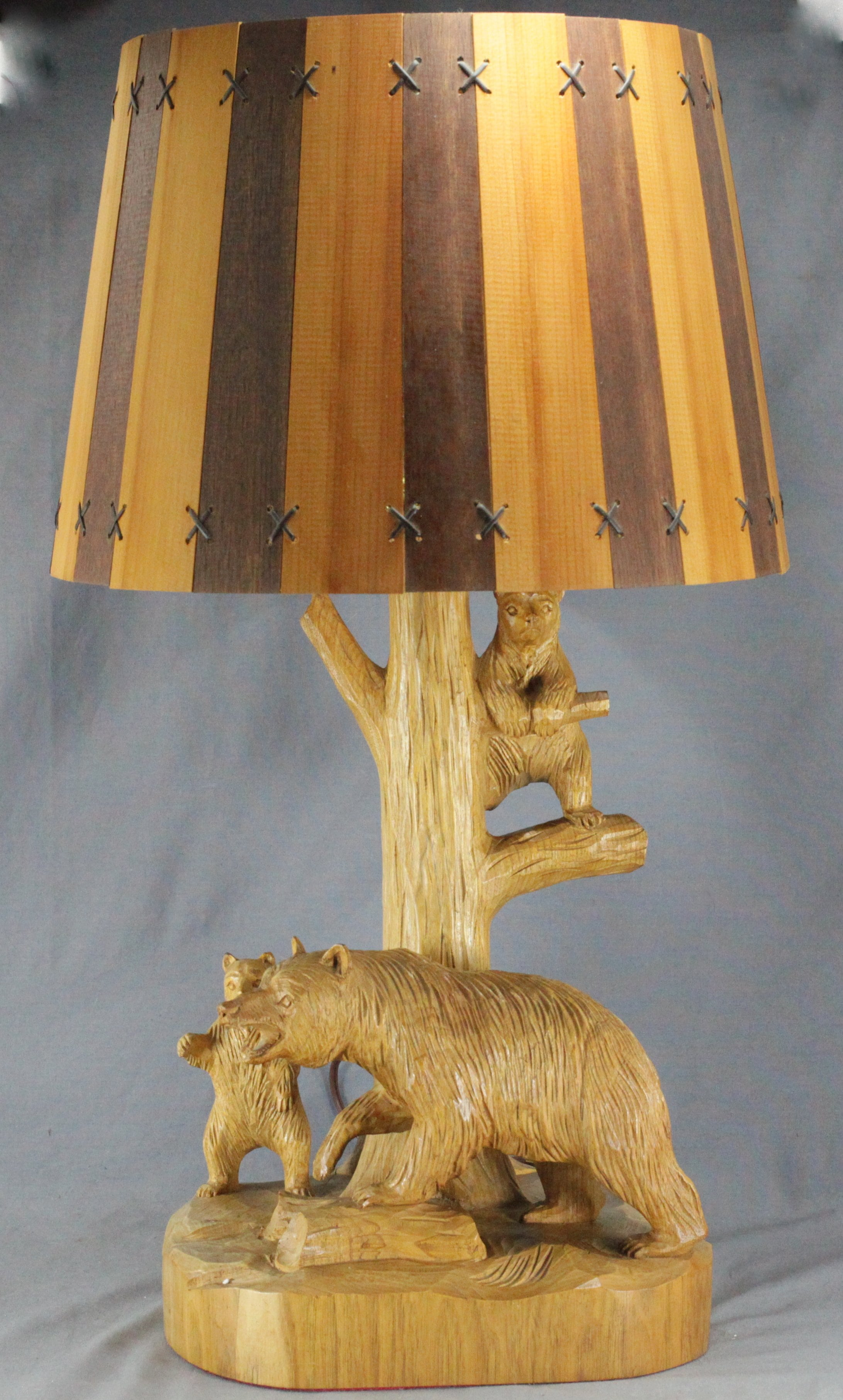 Clement Dube Carved Bear Lamp