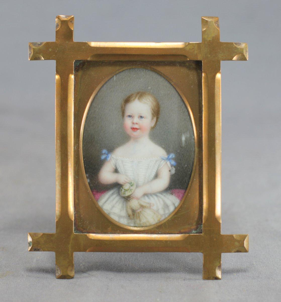 Portrait Miniature Child w/Doll